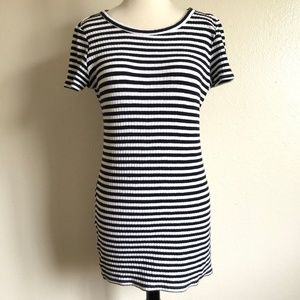 Forever 21 White Navy Blue Striped T-Shirt Dress